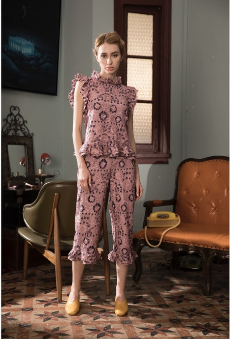 Rhodonite Rose Flutter Lace Pants