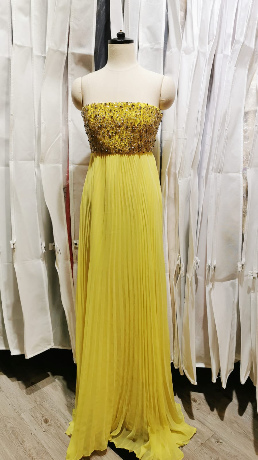 Crystal Tube Top Pleated Gown