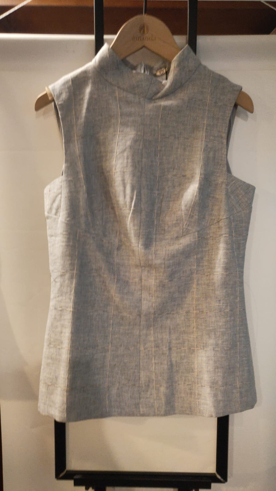 Grey Sleeveless Stitched Top