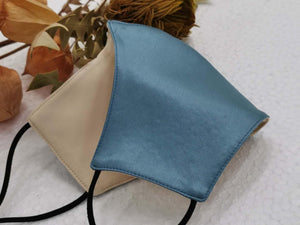 Sky Blue and Beige Reversible Mask