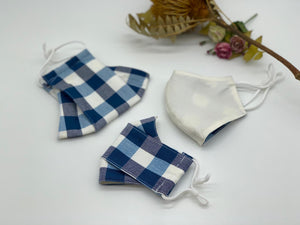 Blue and White Checkered Reversible Mask