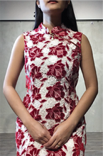 Load image into Gallery viewer, Floral red lace dress
