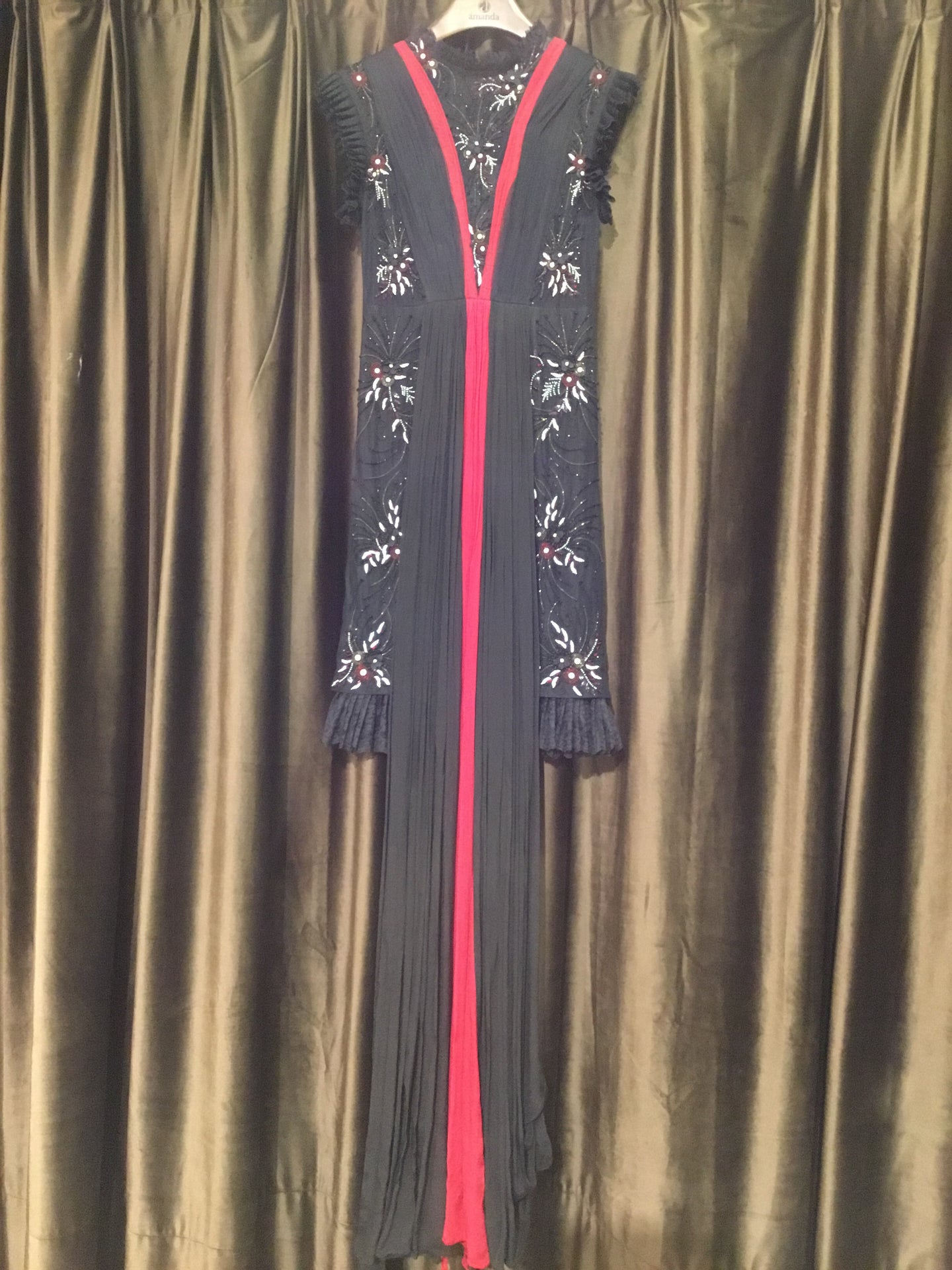 Black Red White Embroidered Gown