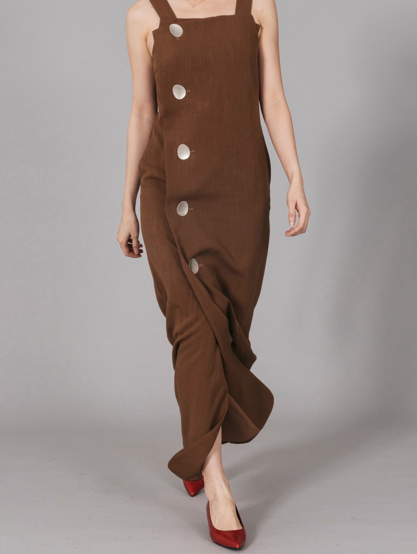 Brown Button Front Maxi Dress