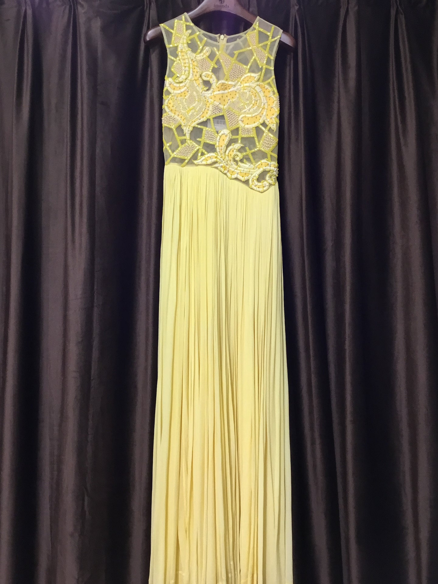 Yellow Embroidered Pleated Gown