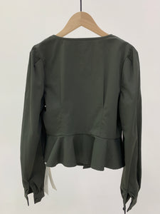 Olive Square Neck Peplum Blouse