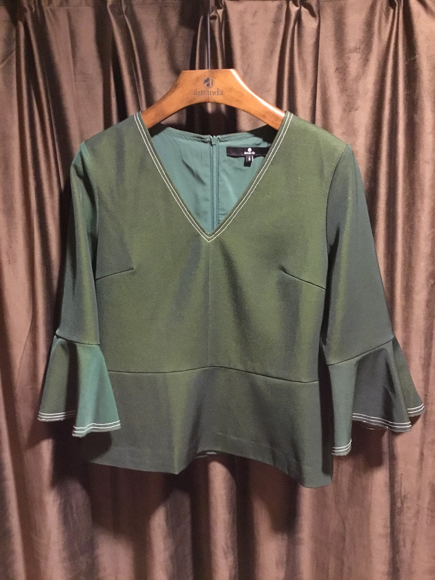 Green Bell Sleeve Blouse