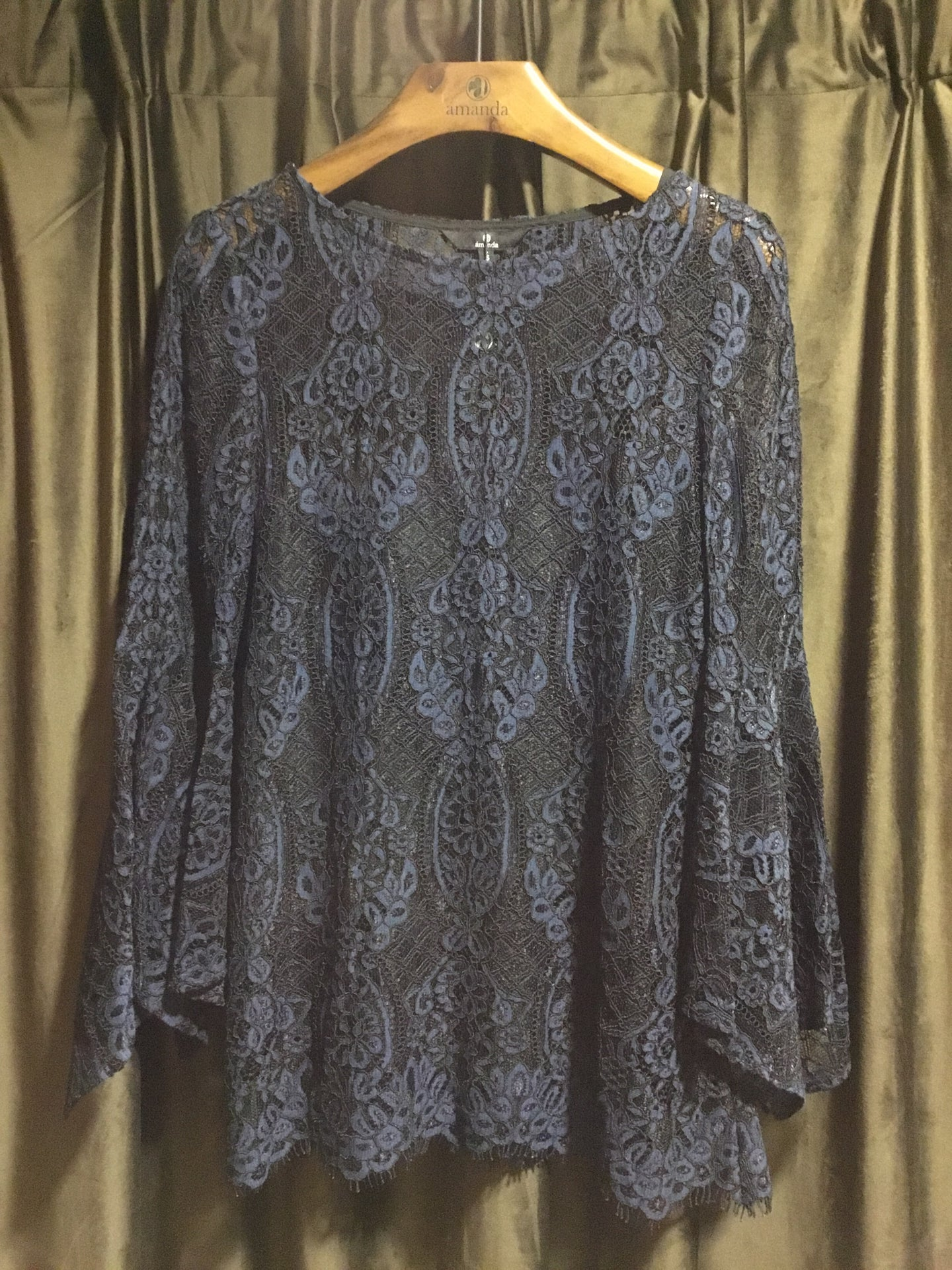 Bell Sleeve Navy Lace Blouse