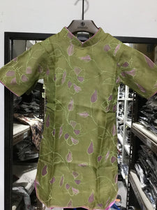 Embroidery Green Kids Dress