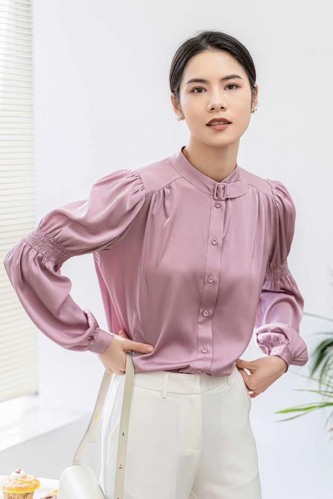 Lavender Ruched Sleeve Silk  Blouse