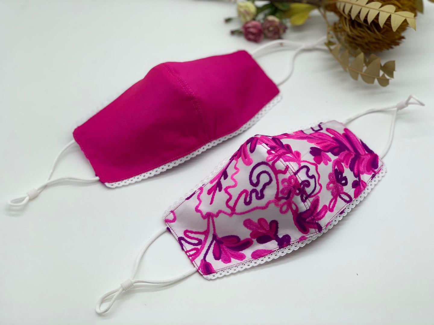 Pink Leaves and Magenta Reversible Mask