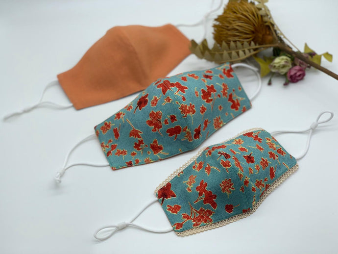 Red Flowers on Blue and Orange Reversible Mask