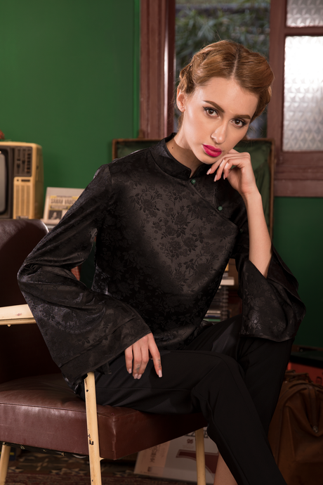 Royal Onyx Drape Sleeve Top