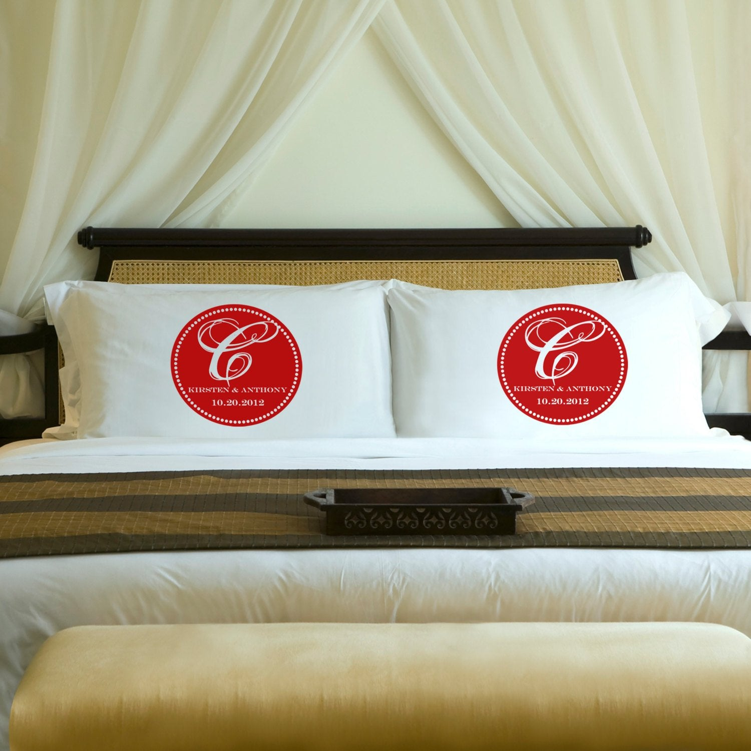 Love's in the air on Personalized Pillows Cases for couples at PinkBlush!