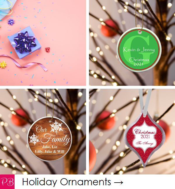 Pink Blush Occasions - Personalized Christmas Holiday Ornaments