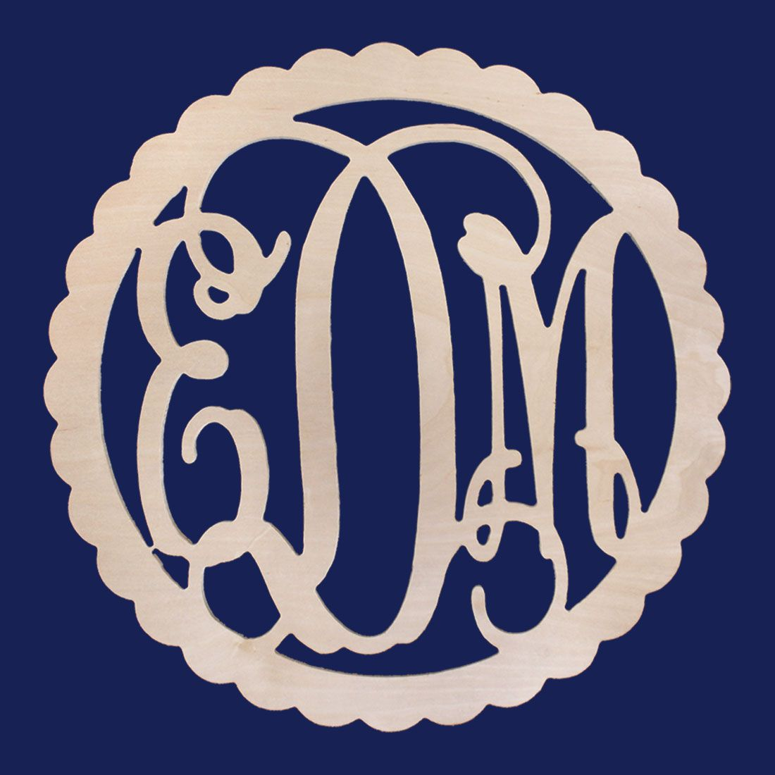 Personalized Scallop Edge Wood Monogram ~ 22 in. dia.
