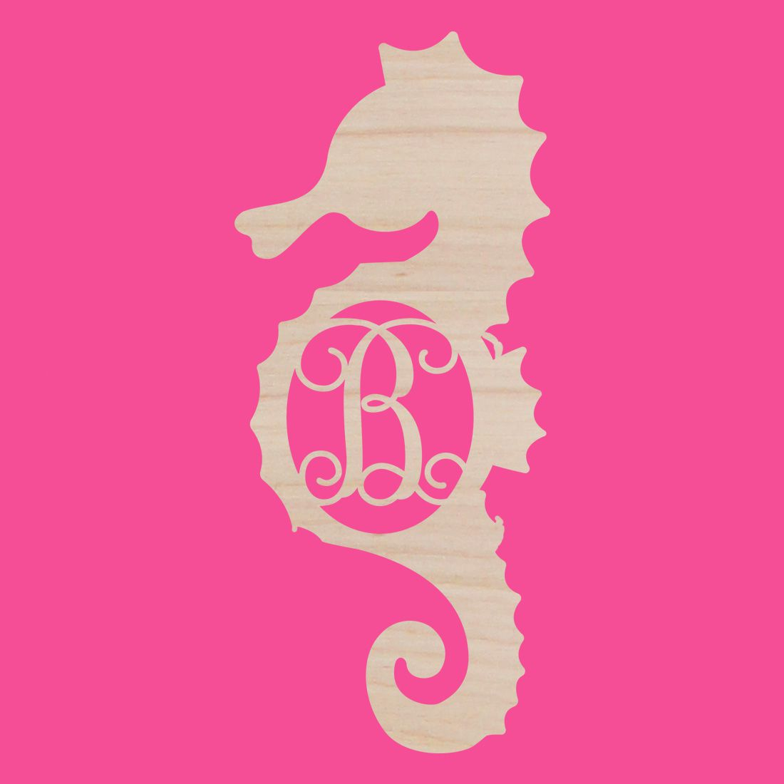 Personalized Seahorse Wood Monogram ~ 12 x 22