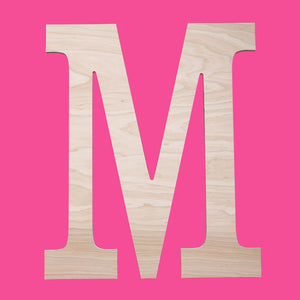 Personalized Small Single Initial Classic Wood Monogram ~ 12 in. high