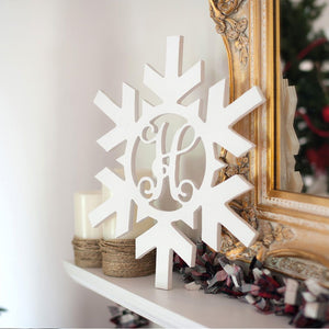 Personalized Snowflake Wood Monogram ~ 18 x 18
