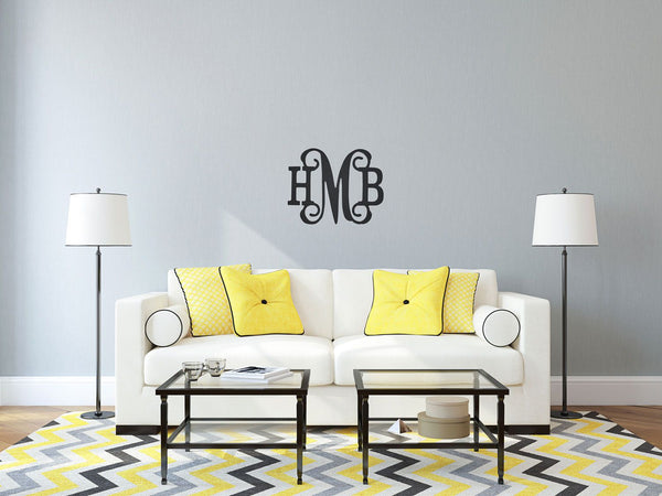"Personalized Three Initials Classic Vine Monogram ~ CHOOSE 14"" or 18"" high"