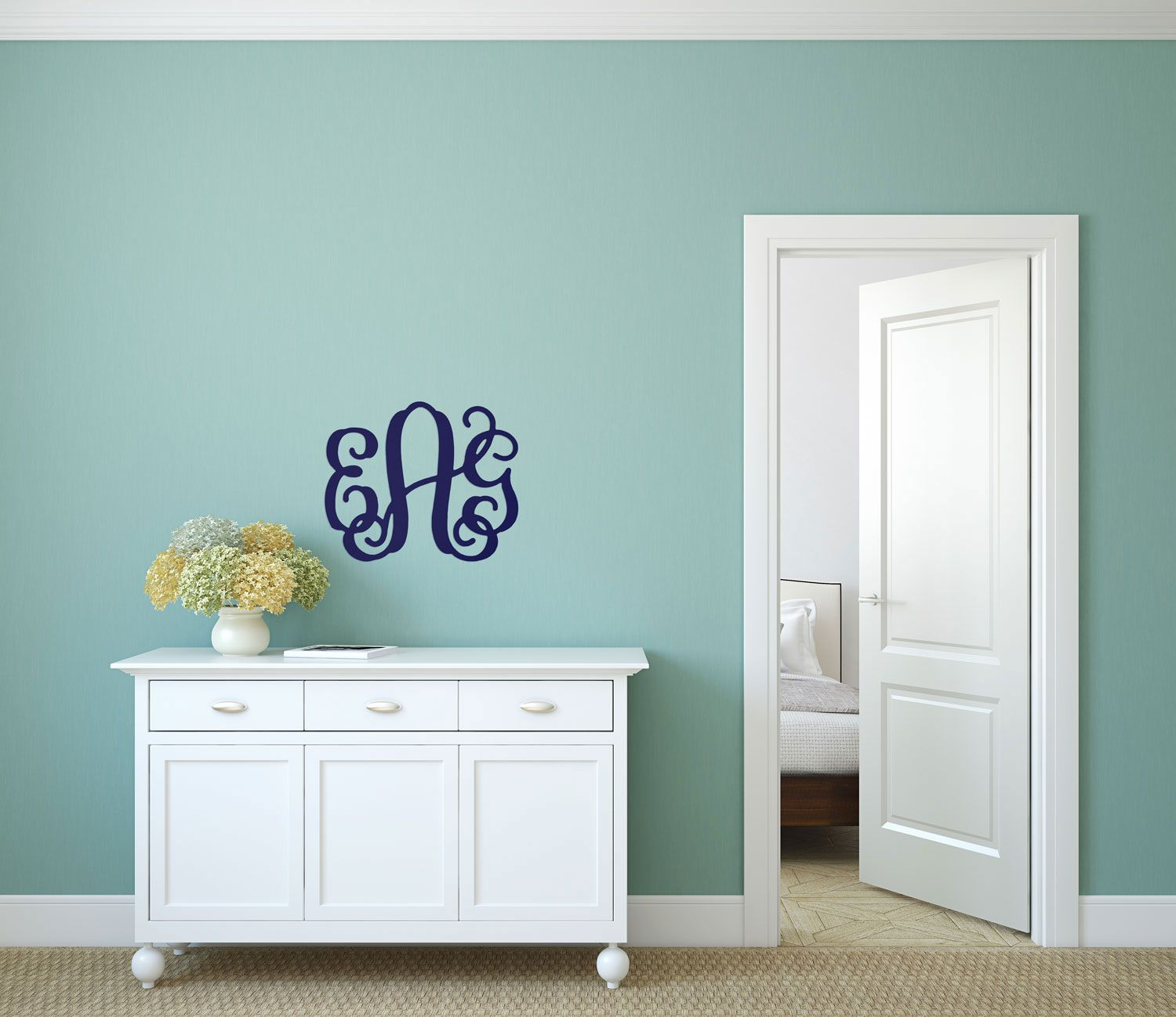 Personalized Small Three Initials Wood Monogram ~ 14 in. high