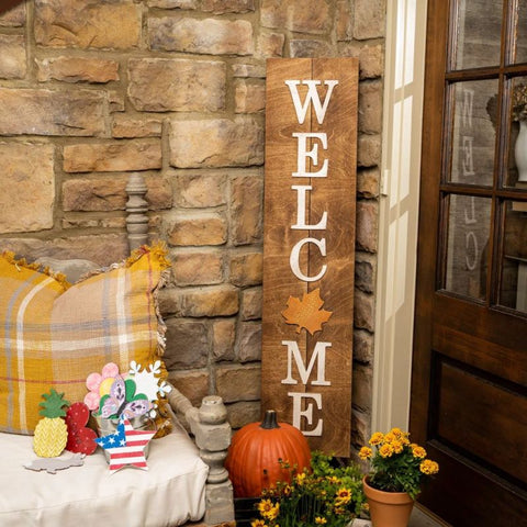 Multi-Season WELCOME Porch Sign with Interchangeable Shapes ready-to-paint project kit