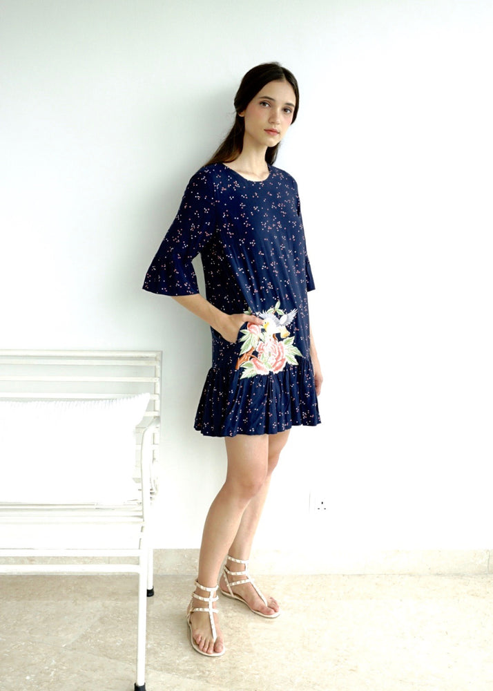 Blue Dot Embroidery Resort Dress - KEEPERS