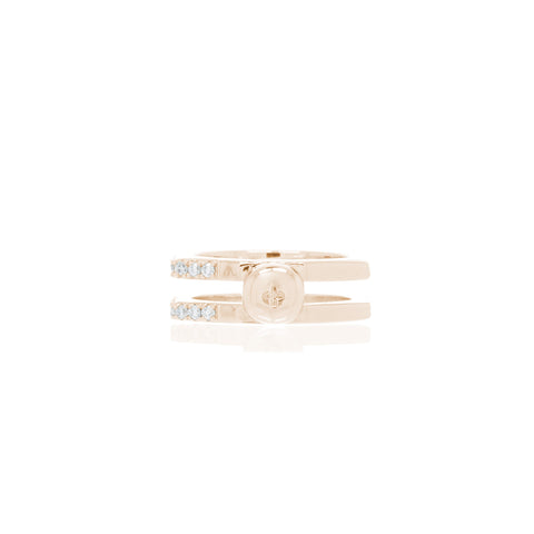 Nut & Bolt Rose Gold Double-Band Rings