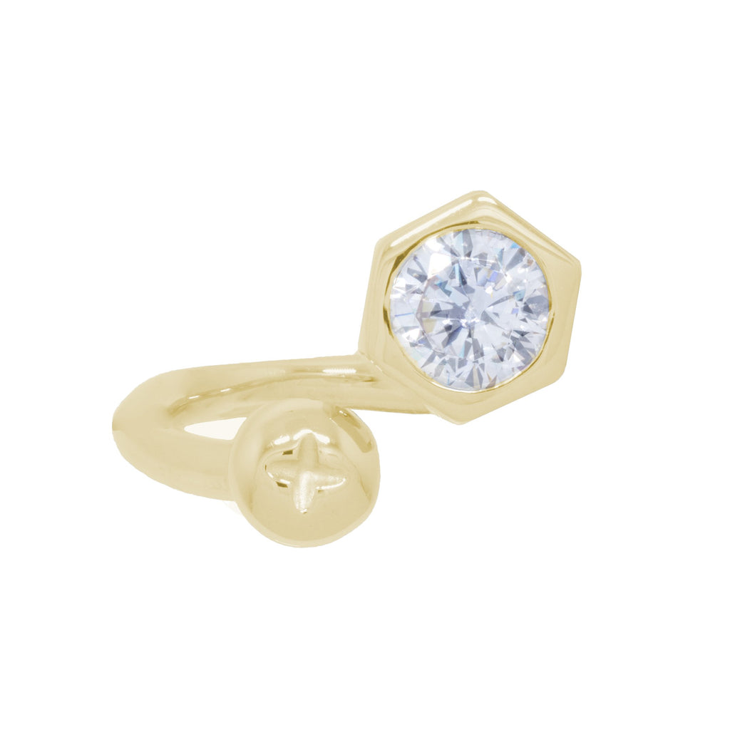 Nut and Bolt White Bling Oblique Ring - KEEPERS