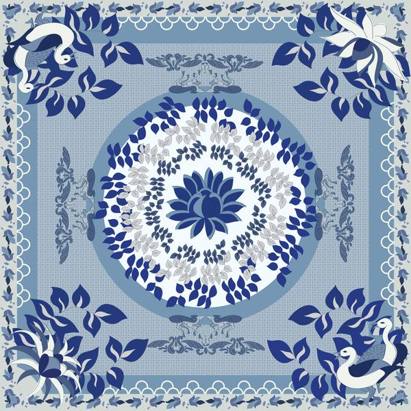 Blue and White Story Square Scarf - KEEPERS