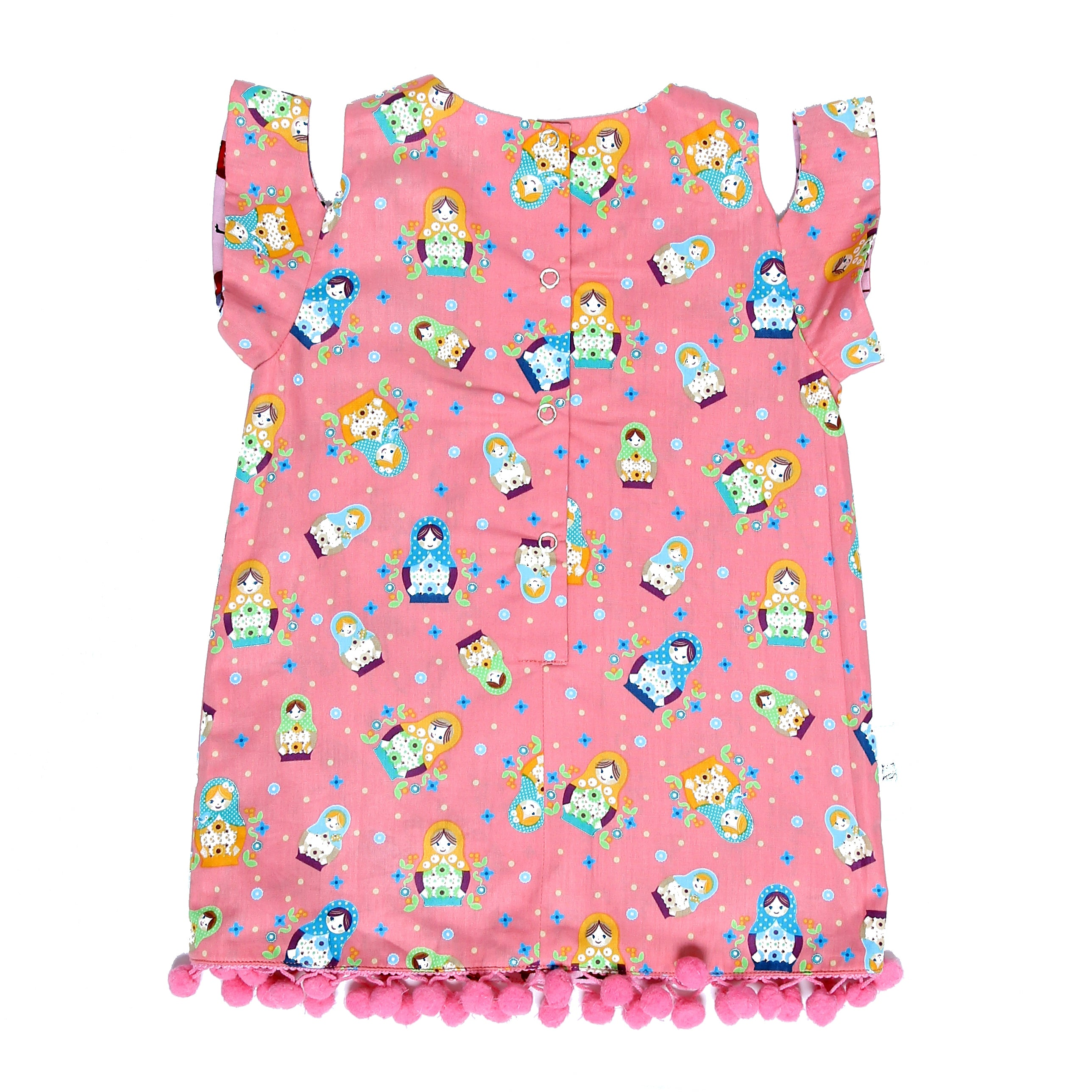 Matryoshka Off-Shoulder Reversible Dress Pink - KEEPERS