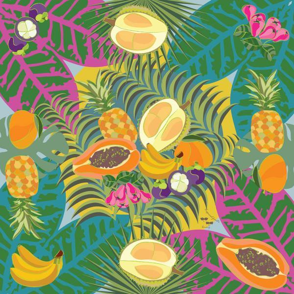 Tropical Fruits Square Scarf - KEEPERS