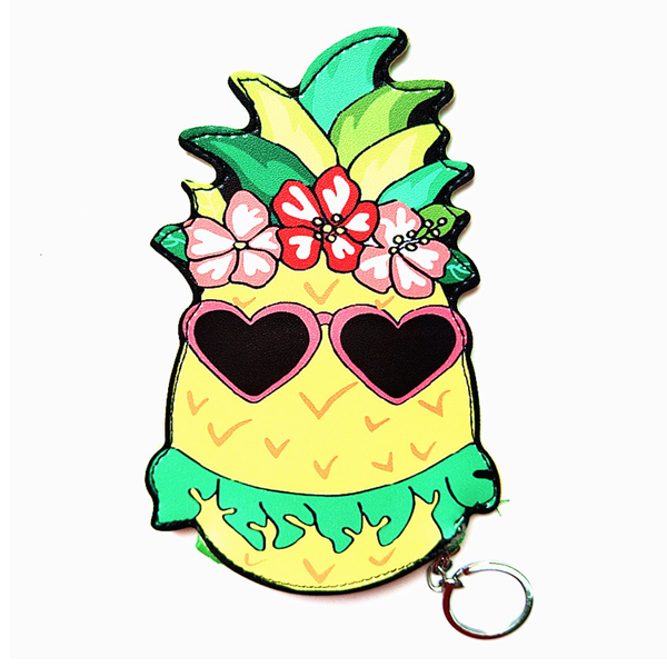 Hawaiian Pineapple Keychain Coin Purse