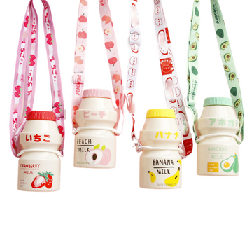 Kawaii Yakult Style Water Bottle & Strap