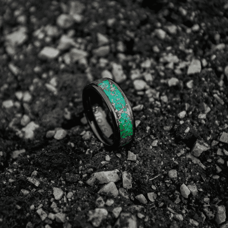 The Copper Cloud Glow Ring - Green Aqua Glow With Ceramic Base
