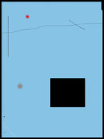 Poster: Black rectangle on blue background, av H. J. Art