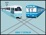 Poster: GBG + STHLM, av Pop-in Local graphics