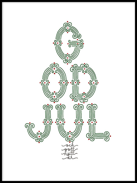 Poster: God Jul, färg, av Fia Lotta Jansson Design