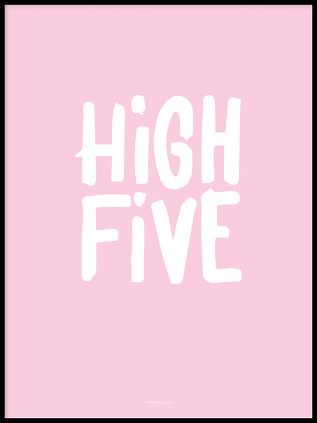 Poster: High Five, rosa, av Fröken Disa