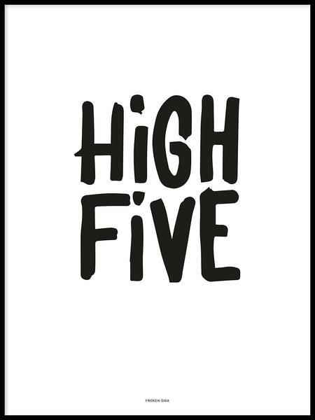 Poster: High Five, vit, av Fröken Disa