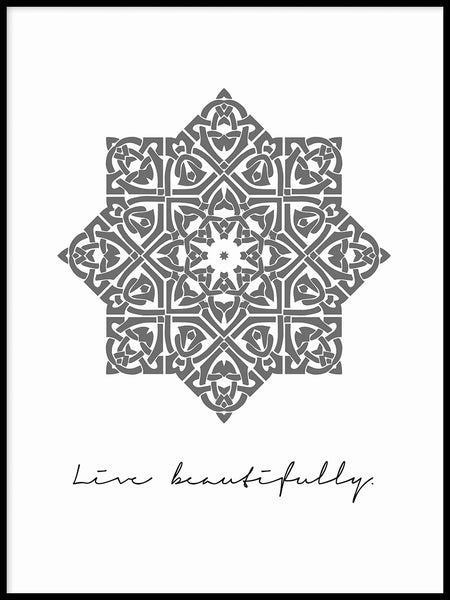 Poster: Live beautifully, grey, av Anna Mendivil / Gypsysoul