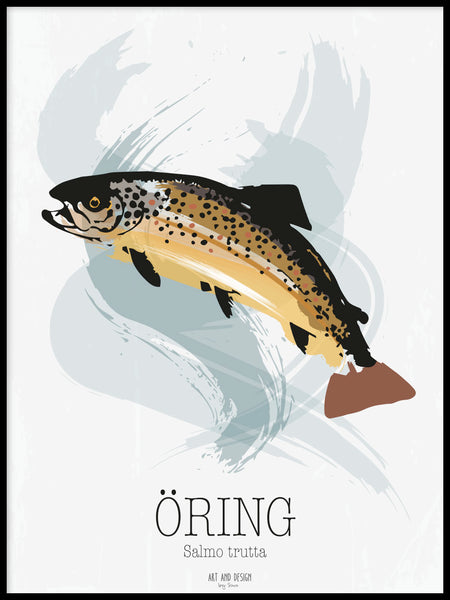 Poster: Öring, av Art & Design by Sara