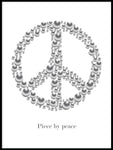 Poster: Peace med text, vit, av GaboDesign