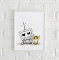 Poster: Robot and cat, av Utgångna produkter