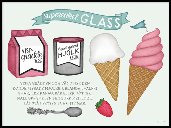 Poster: Superenkel glass, av Tovelisa