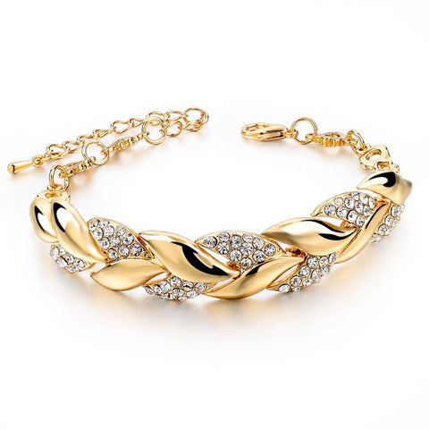 Braided leaf bracelet - gold plated