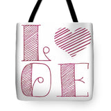 Love Heart Pink Tote Bag