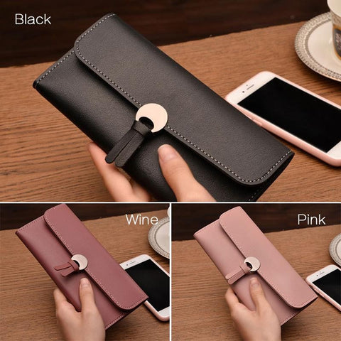 Women Pu Leather Clutch Wallet Long Card Holder Case Purse Bag
