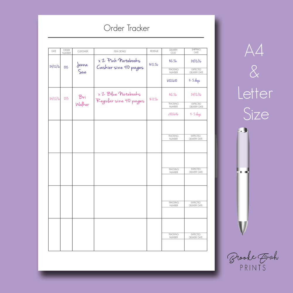 Order Tracker - BrookeEvahPrints