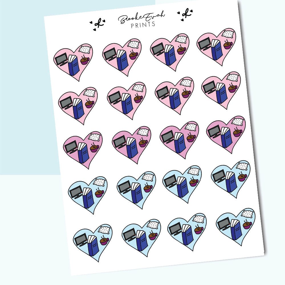 Cozy Vibes Heart Stickers- BEP06 - BrookeEvahPrints
